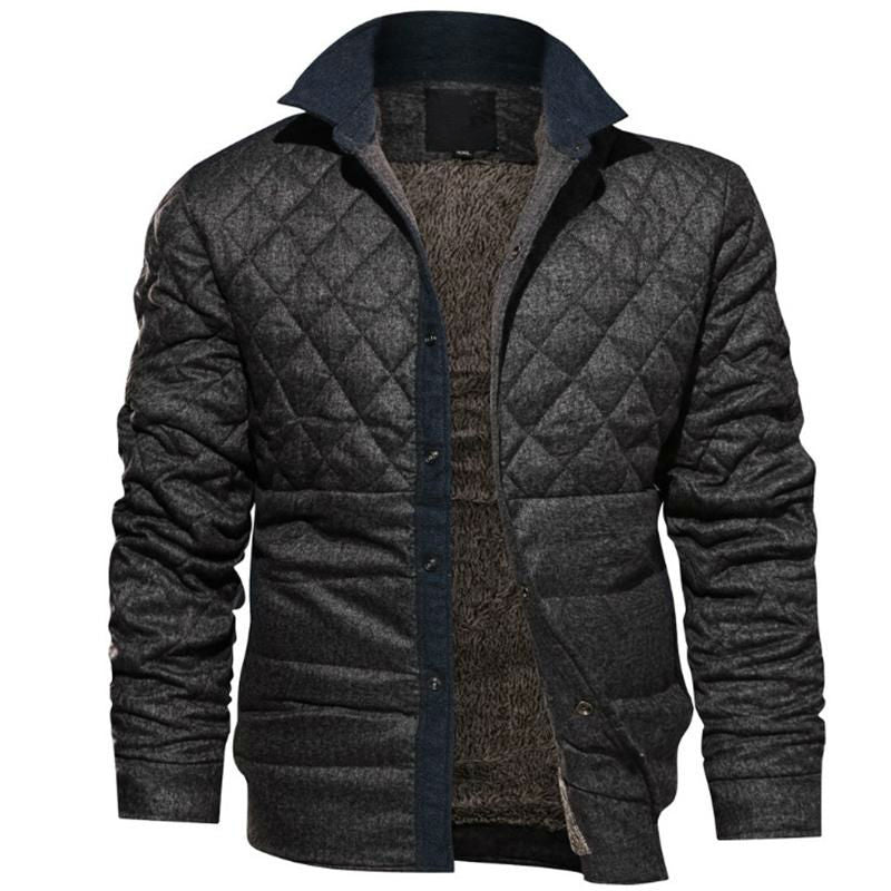 Ash Gray Diamond Quilt Men Warm Jacket - FanFreakz