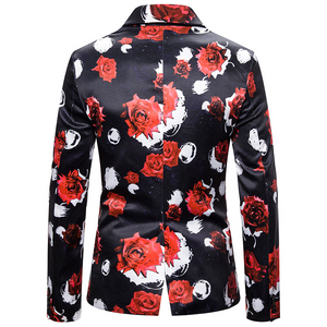 3D Rose Floral Blazer Casual Slim Fit Jacket