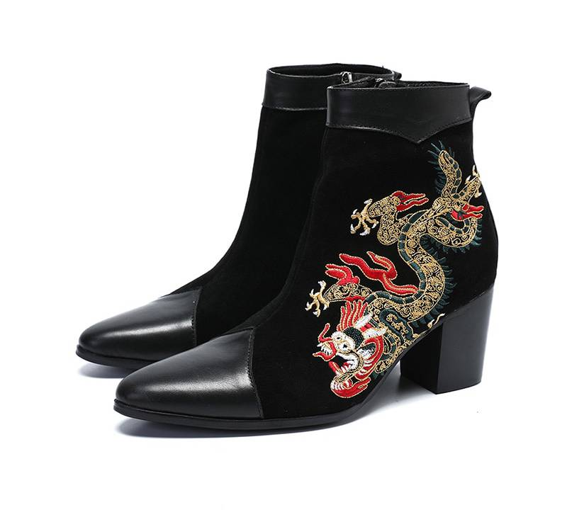 Suede Black with Dragon Embroidery Detail Men Boots