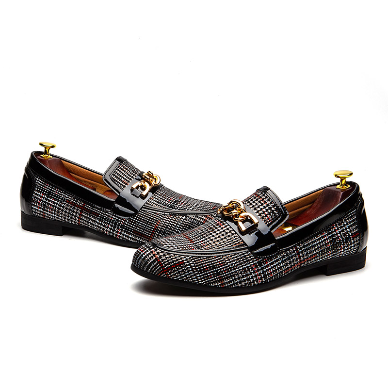 Luxury Plaid with Metal Chain Decoration Men Loafers Shoes