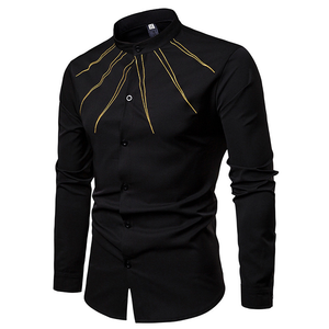 Casual Mandarin Collar with Yellow Stroke Embroidery Men Shirt - FanFreakz