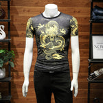 Summer Wind Dragon Chinese Style Printing Men T-Shirt