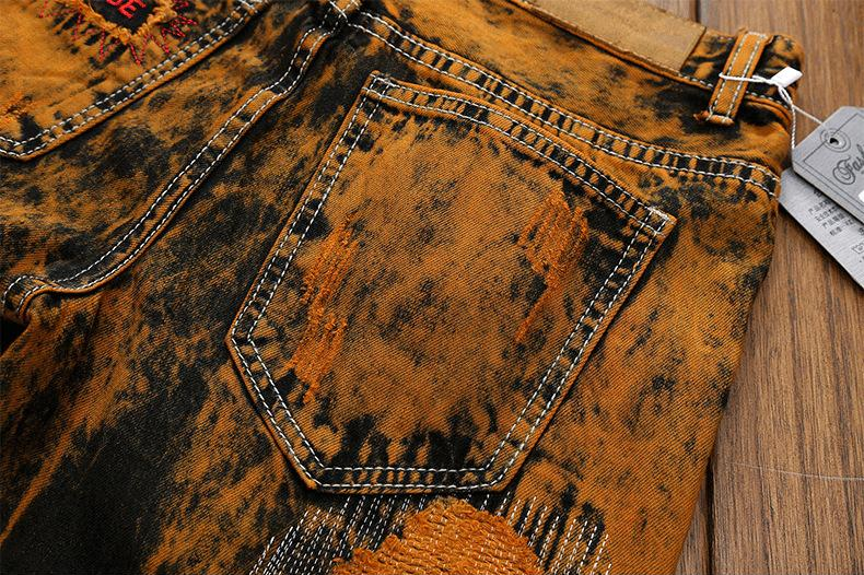 Destroyed Print Hole Abstract Soil Color Mens Ripped Jeans - FanFreakz