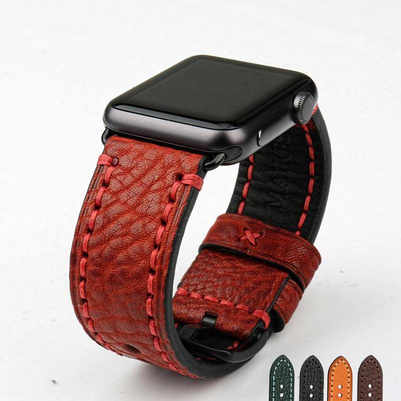 Big Stitches with Bold Color Apple Watch Leather Strap