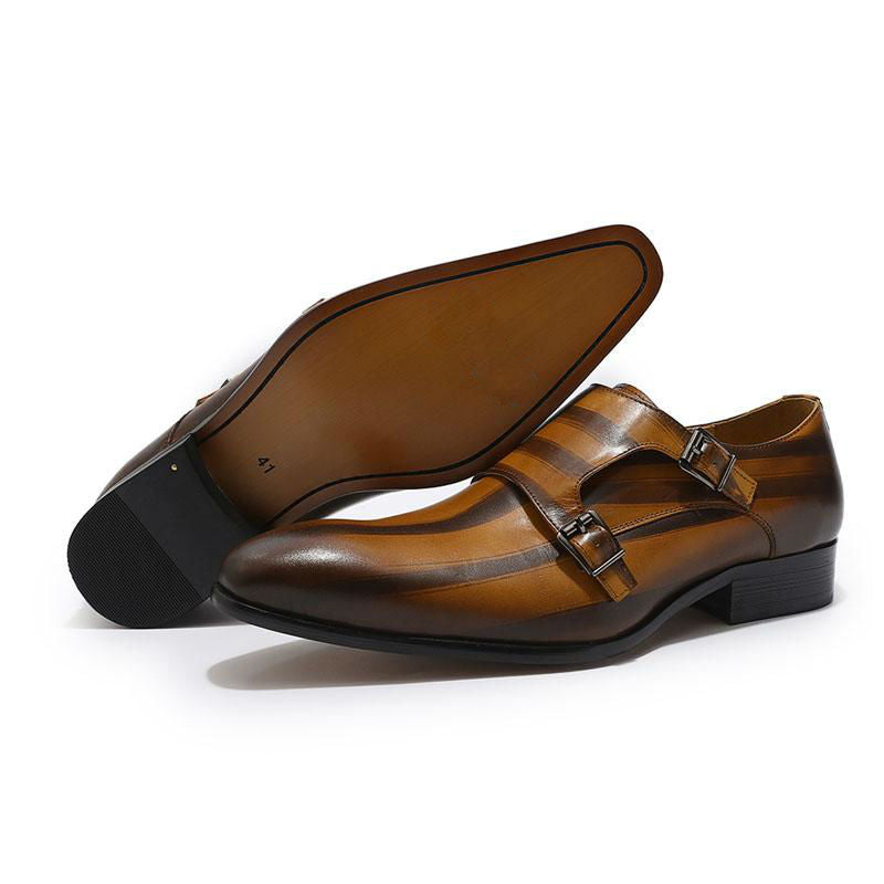 Plain Pointed toe Brushed Stripe Pattern Men Double Monk Strap Leather Shoes