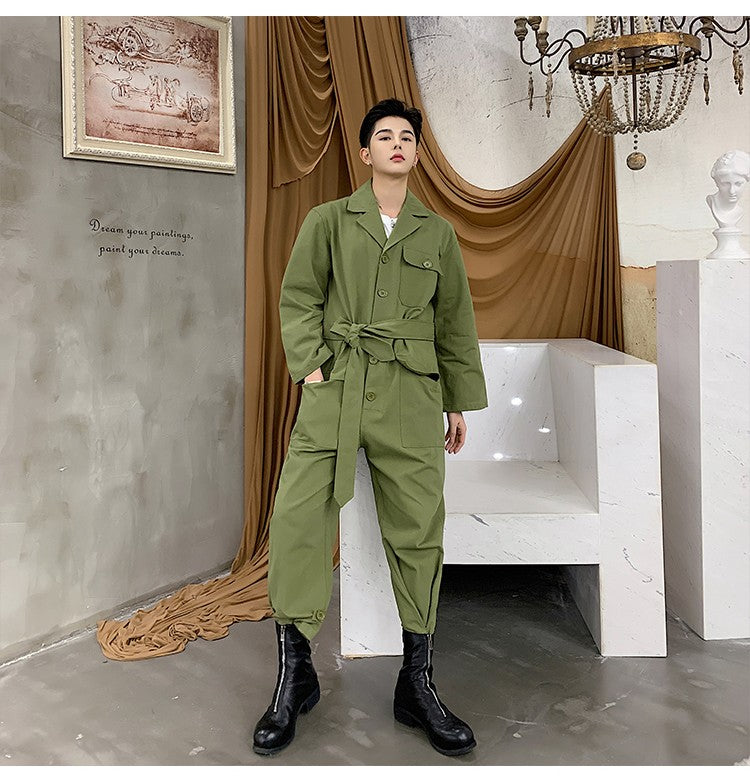 Casual Harajuku Style with Waist Rope Men Jumpsuit Shirt - FanFreakz