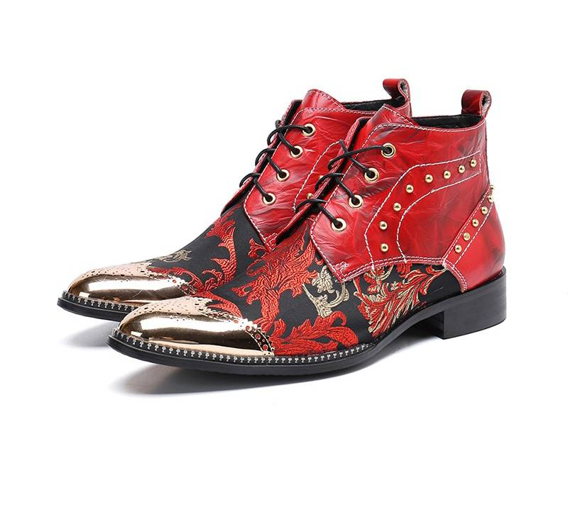 Red Pointed Toe in Autumn Pattern Lace Up Men Leather Boots