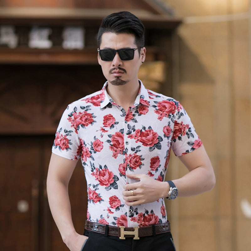 Floral Print Summer Short Sleeve Style Men Shirt