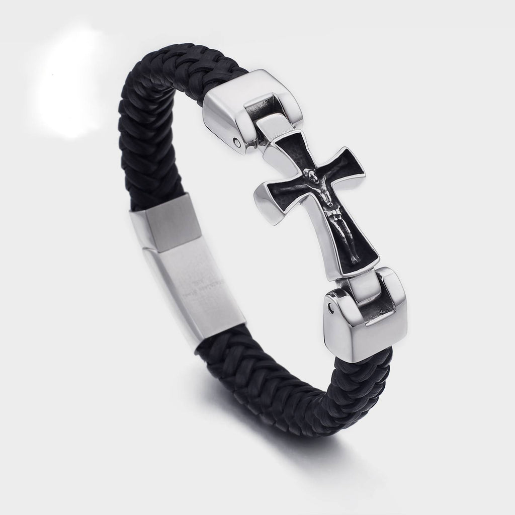 Braided Leather with Cross Stainless Steel Chain Men Bracelets