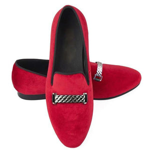 Embossed Buckle Men Velvet Loafer Shoes - FanFreakz