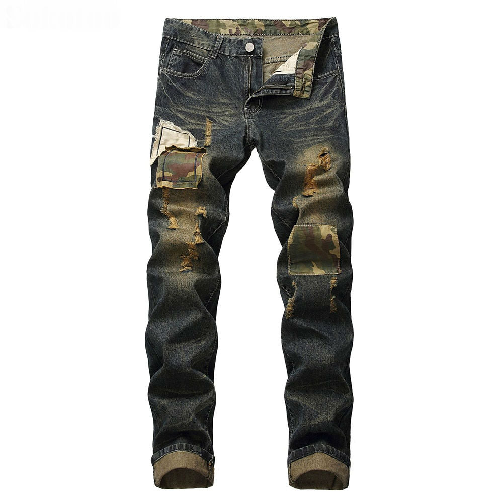 Ripped Patches Denim with Colour Shade Combination Men Jeans