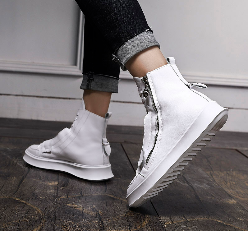 Round Toe Zip PU Leather Casual Solid Style Men Boots