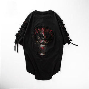Skull Print Shoulder and Chest Ripped Street Style Men T-Shirt