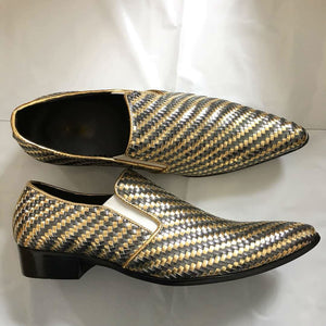 Gold Silver Braided Woven Leather Men Loafers Shoes