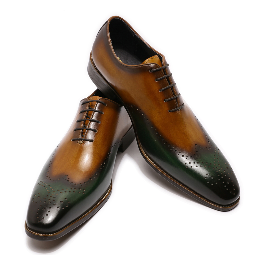 Hand Painted Men Wingtip Oxford Shoes