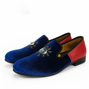 Blue Eyes Shape Sequin Detail Men Velvet Loafers Shoes - FanFreakz