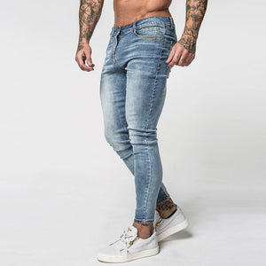 Faded Blue Classic Men Pencil Jeans