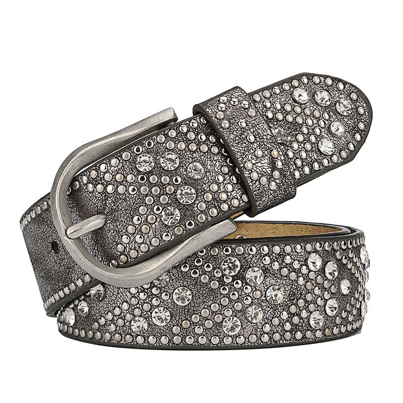 Vintage Sparkle Beads Rivet Men Leather Belt