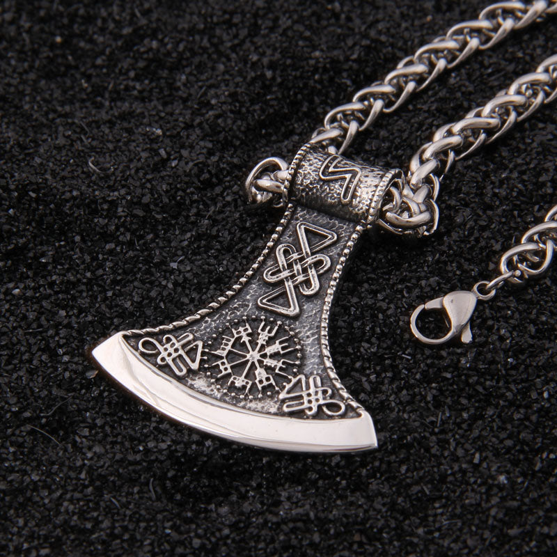 Trendy Silver Axe Pendant Design Men Necklace