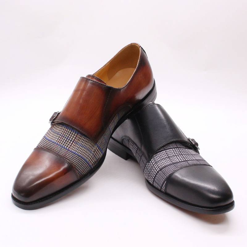 Plaids Patchwork Leather Double Monk Strap Pointed Toe Men Shoes