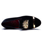 Gold Top and Metal Toe Velvet Design Men Loafers Shoes