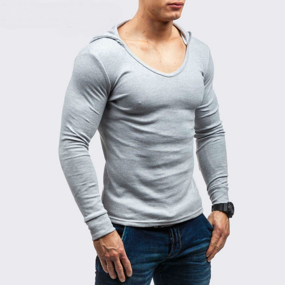 Basic O Neck Men Hooded Slim Long Sleeves T-Shirt