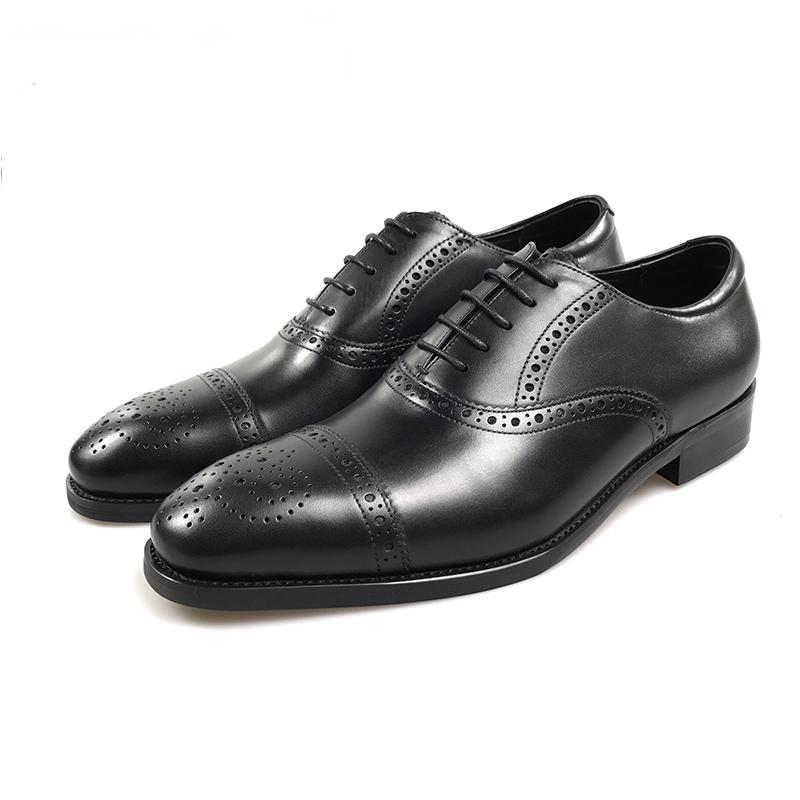 Perforated Details Men Classic Style Leather Oxford Shoe - FanFreakz
