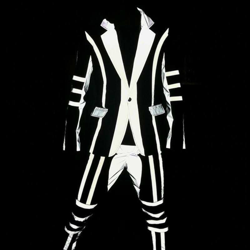 Fluorescent Grey Reflection of Light Men Hip Hop Suit for DJ or Stage Performance - FanFreakz