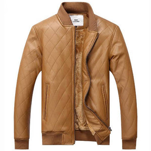 Solid Warm Fleece Plaid Stand Collar Men PU Leather Jacket