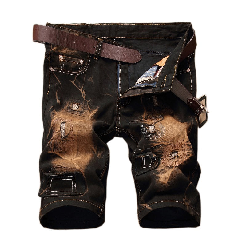 Retro Denim Bleach Slim Fit Style Men Shorts