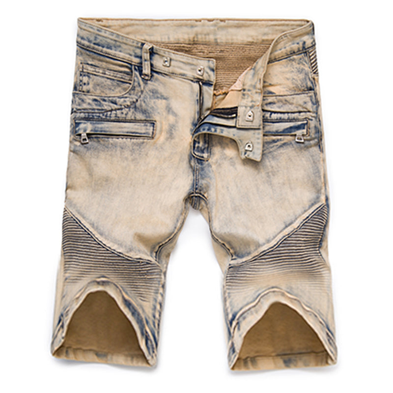 Biker Denim Painted Pleated Denim Style Men Shorts