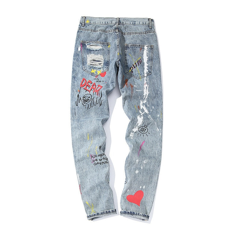 Hip Hop Graffiti Printed Ripped Hole Style Men Jeans