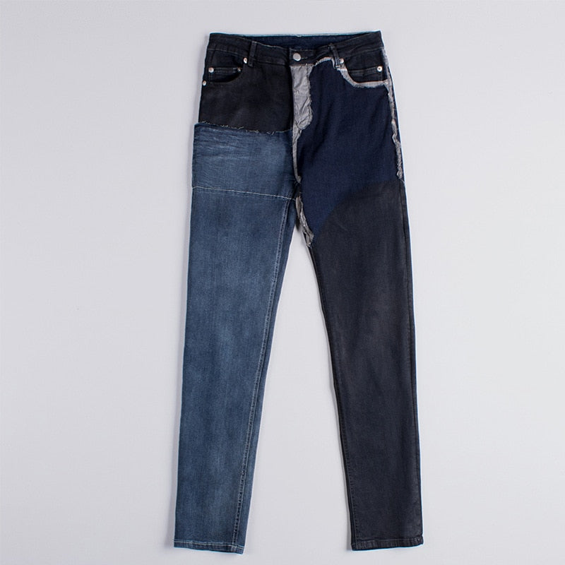 Blue Asymmetry Washed Waxed Patchwork Slim Style Men Jeans