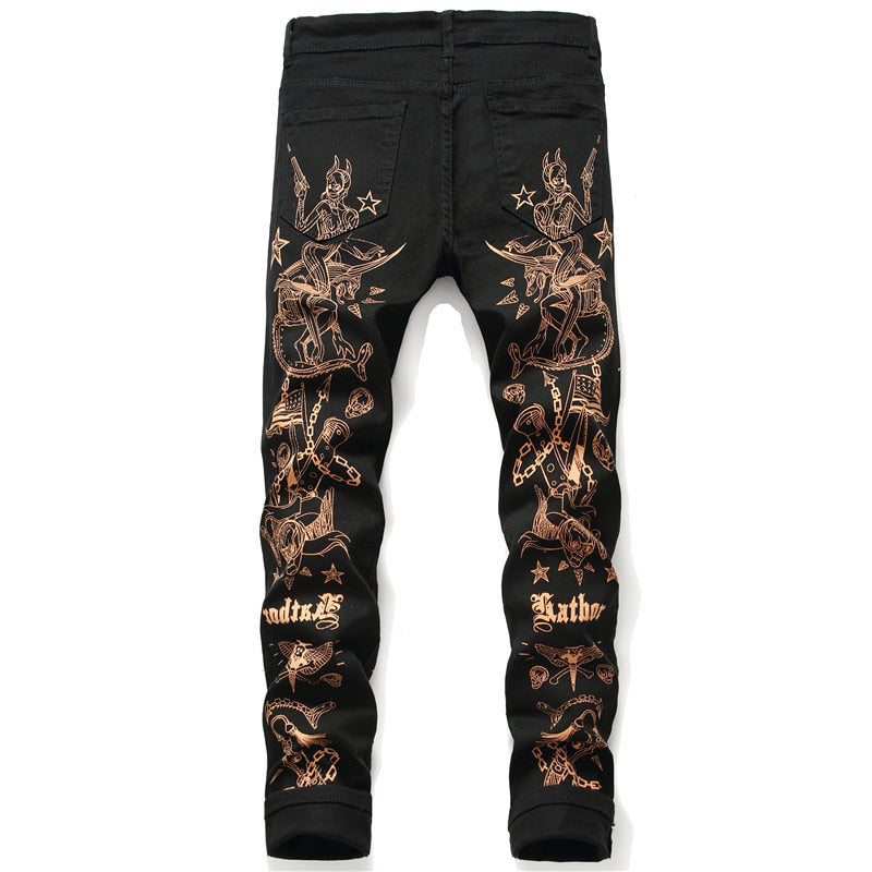 Black Casual with Tribe Printed Slim Pencil Streetwear Style Men Jeans