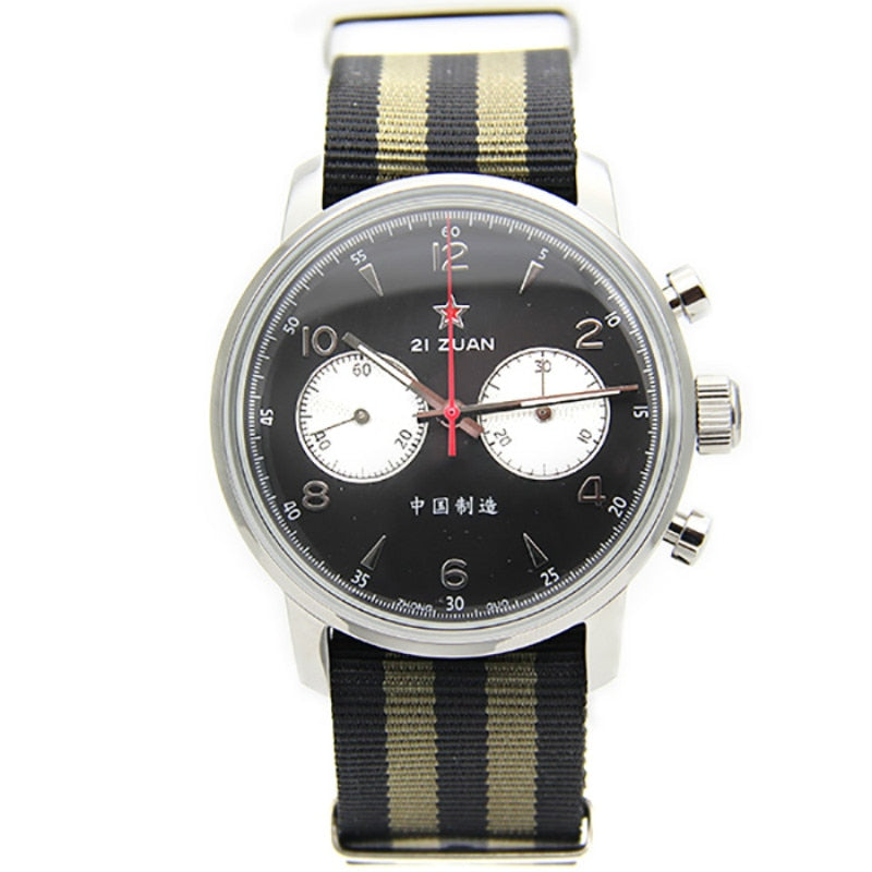 Round Style Air Force Pilot Chronograph with Stripe Band Men Watches