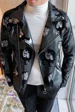 Lion Pattern Print with Zipper Lapel Men Faux Leather Jacket
