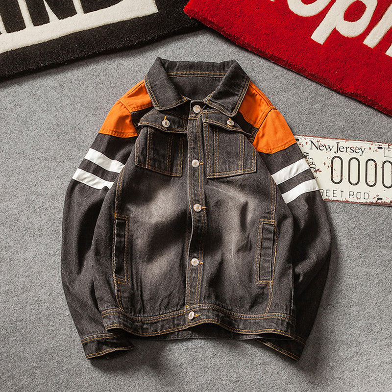 943ae8b220185 Harajuku Style Men Denim Jacket With Contrast Color Shoulder Patchwork  Details - FanFreakz
