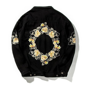 Flower Wreath Back Loose Denim Men Black Jacket