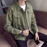 Ripped Sleeves Two Pockets Men Button Closure Denim Jacket