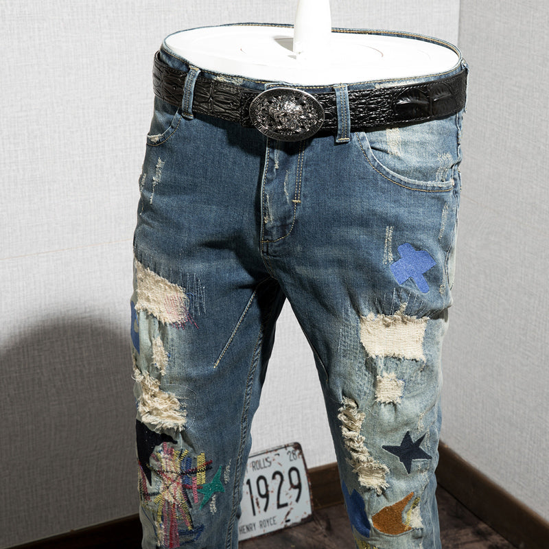 Distressed Holes with Mixed Colored Shapes Patched Men Jeans