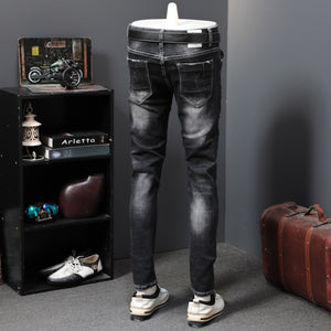 Black Ash with Colored Drawing Anchor Print Men Jeans