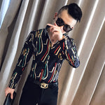 Colorful Thread Print Long Sleeve Slim Fit Casual Style Men Shirts