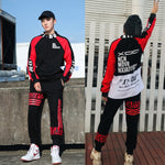 Casual Hi Neck Streetwear Patch Hip Hop Style Men Sweatshirt and Pant
