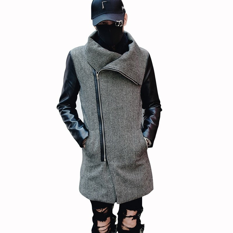 a52f28876d8c Winter Wool with Contrast Leather Patchwork Sleeves Design Men Jacket