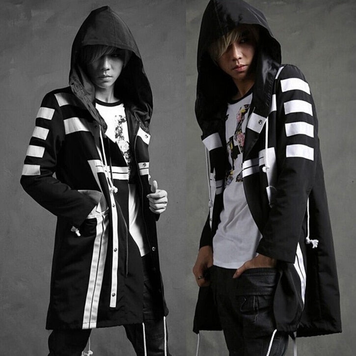 Hooded Punk Black and White Striped Men Long Jacket