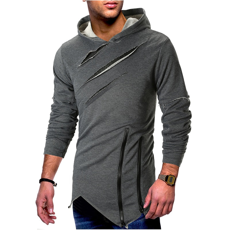 Chest Ripped Hooded Street Style Man Pullover Shirt - FanFreakz