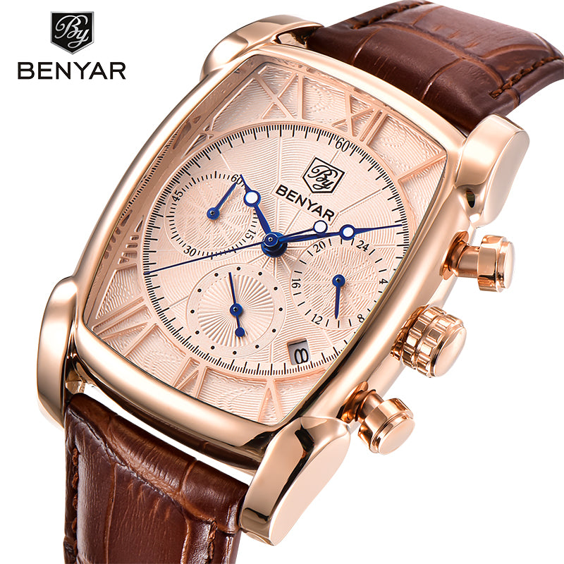 BENYAR Classic Style Rectangle Men Quartz Wristwatch with Croco Pattern Leather Strap - FanFreakz
