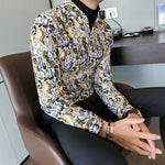 Full Contrast Baroque Pattern Men Long Sleeves Shirt