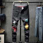 Fancy Colourful Patches Design Men Black Jeans