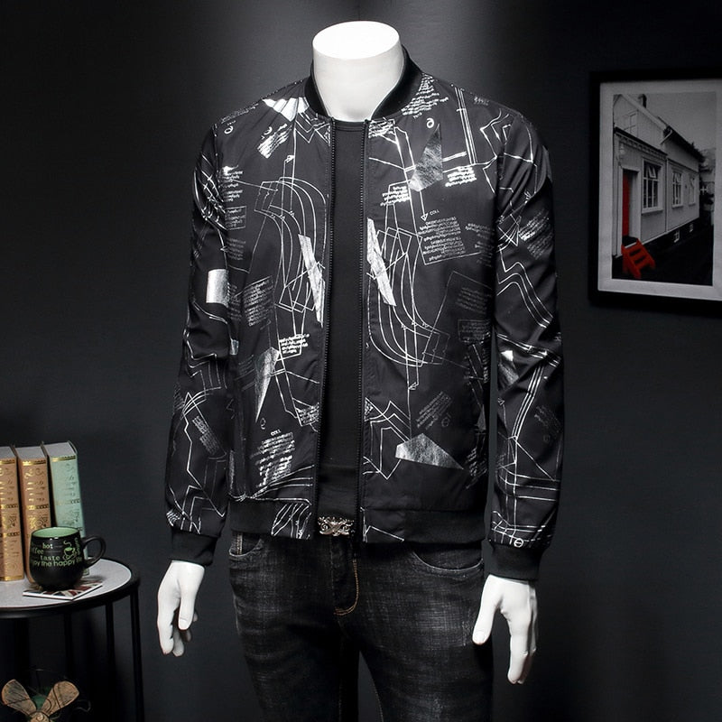 Black Bomber Jacket Men Line Printing Casual